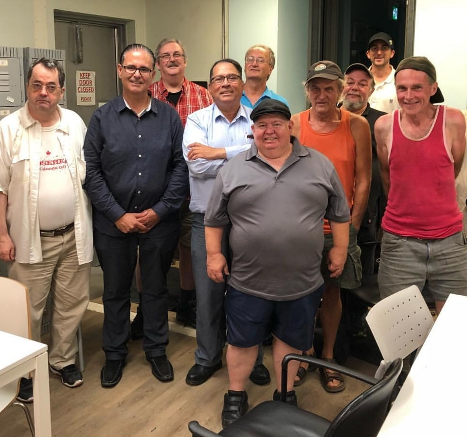 Rudy Cuzzetto (second from left), the PC MPP for Mississauga—Lakeshore, attended a meeting of The Compass Men's Group on August 28.