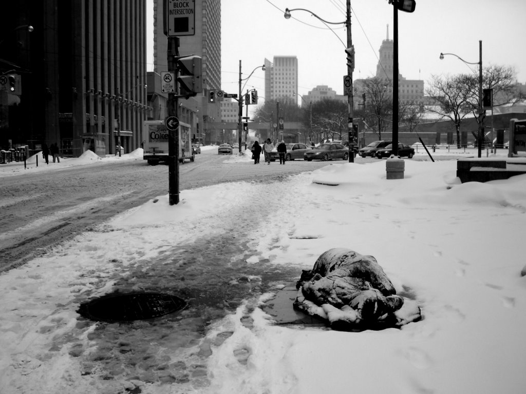 Homeless in Toronto at -18C windchill. It's safer sleeping in public view.