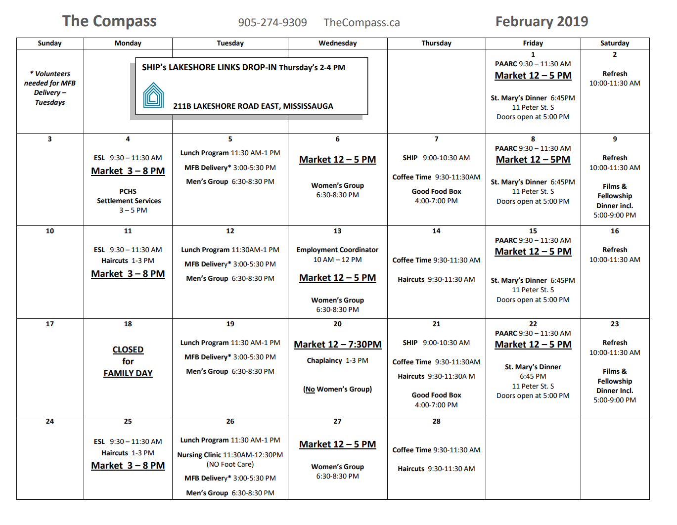 Calendar for the month of February