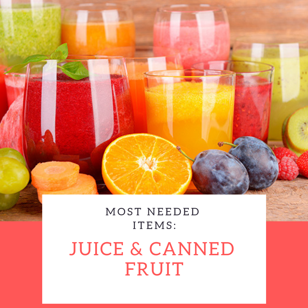 Most needed Items this week are Juice and Canned Fruits