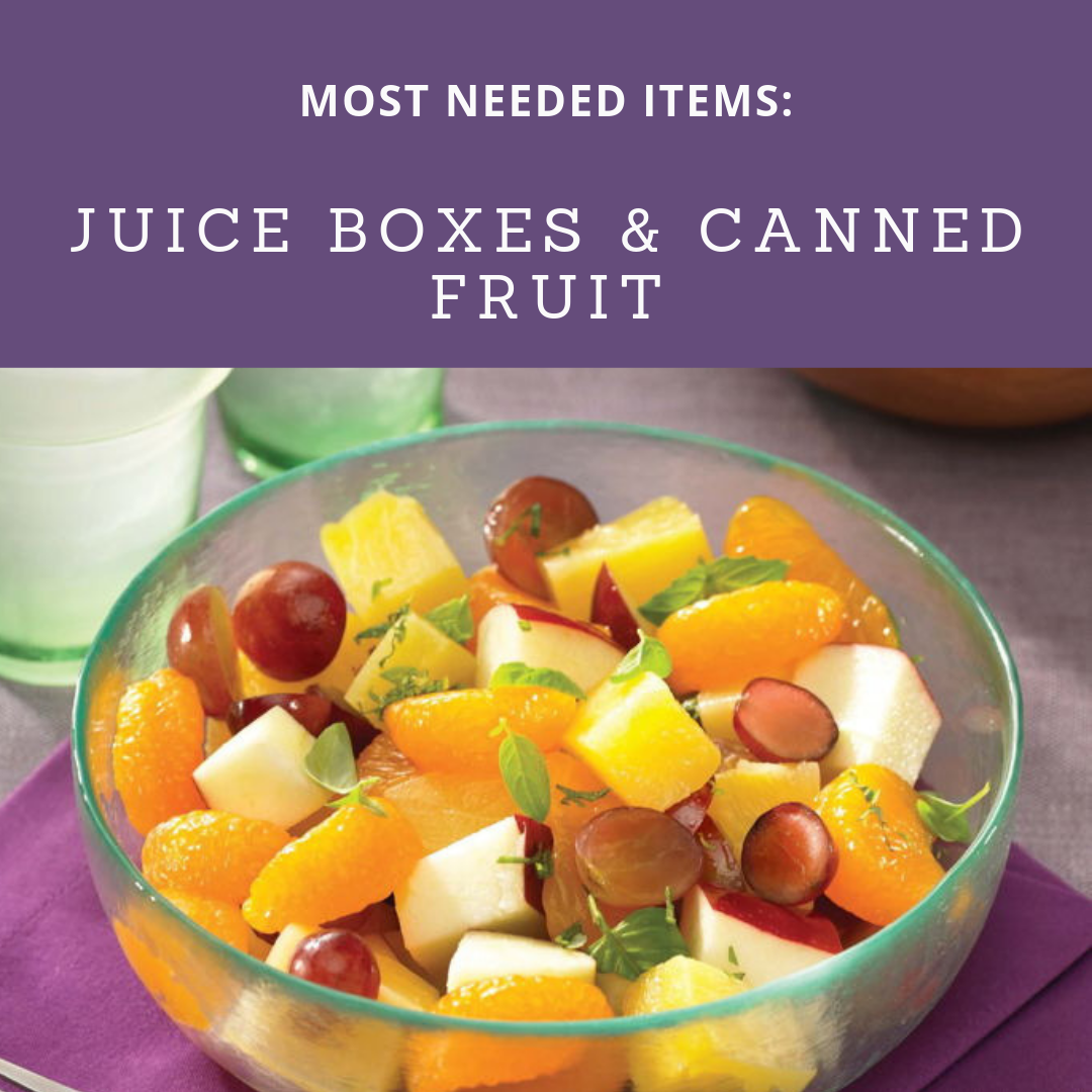 Most Needed Items for this week are Juice Boxes and Canned Fruits