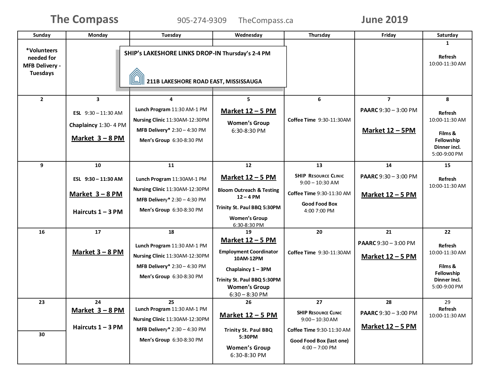 Calendar for the month of June 2019
