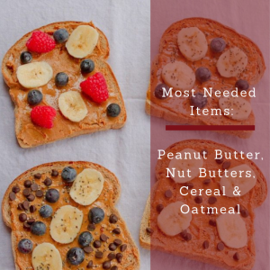 Most Needed Items for this week are Peanut Butter, Nut Butters, Cereals and Oatmeal