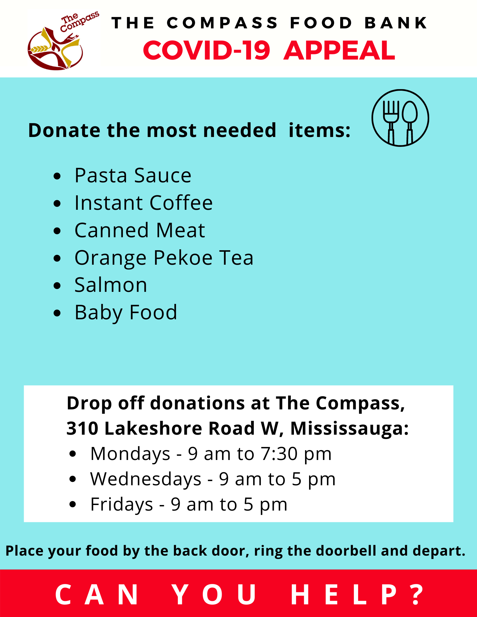 Most Needed Items for this week are Pasta Sauce, Instant Coffee, Canned Meat, Orange Pekoe Tea, Salmon, Baby Food