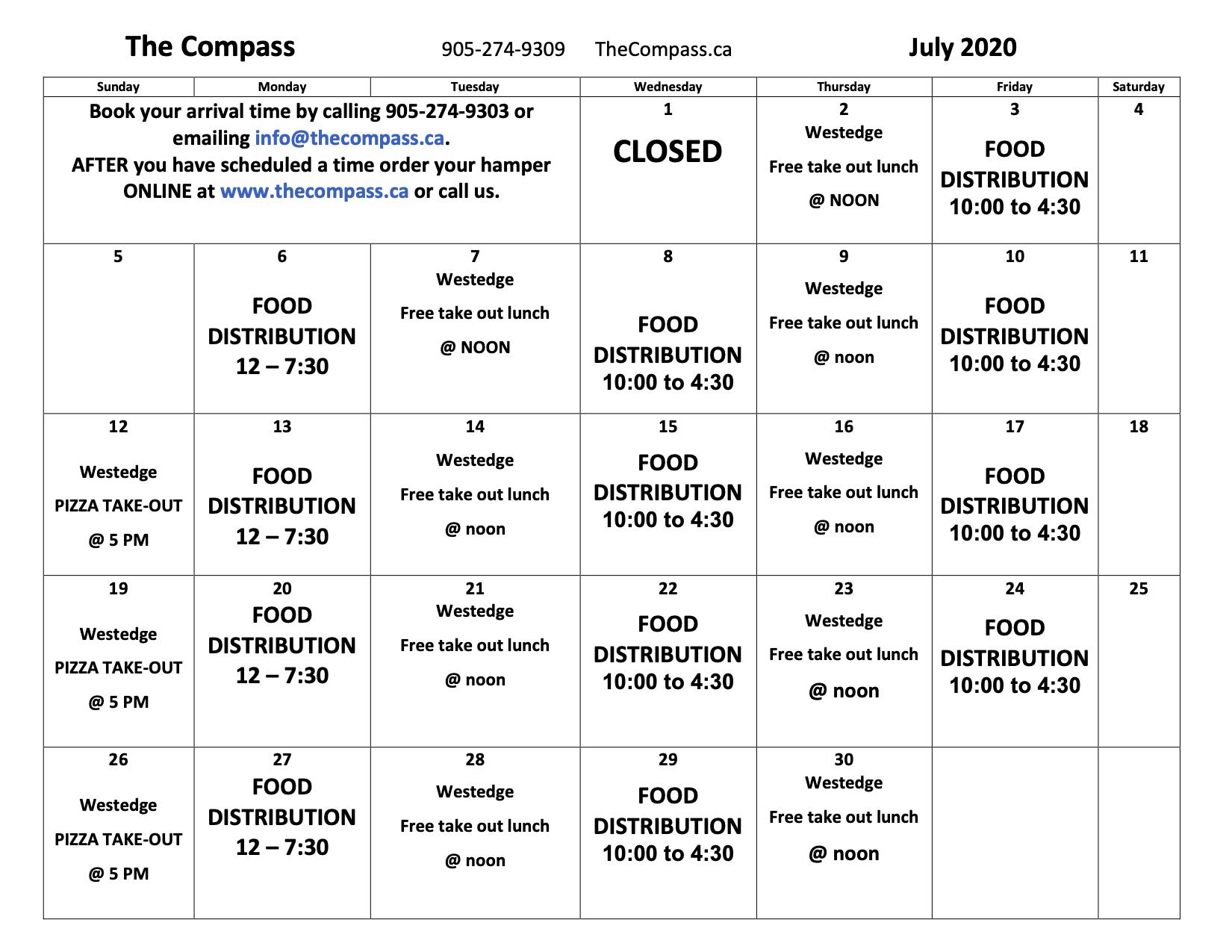 Compass July Calendar